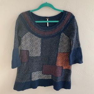 Free People Patchwork Chunky Knit Sweater S
